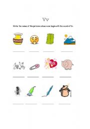 English Worksheets: The sound of V