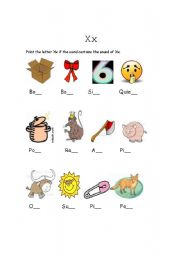 English Worksheets: The sound of X