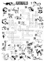 English Worksheets: ANIMALS CROSSWORD