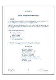 English Worksheet: Similes, Metaphors & Personification