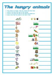 English Worksheets: THE HUNGRY ANIMALS
