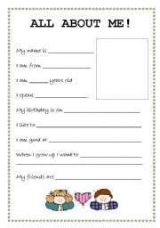 All About Me Student Profile Esl Worksheet By Jennifer Lin