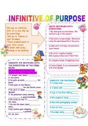English Worksheet: INFINITIVE OF PURPOSE
