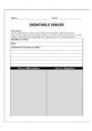 english worksheets debatable issues. Black Bedroom Furniture Sets. Home Design Ideas