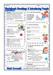 Greetings worksheets english worksheet greetings and introducing people m4hsunfo