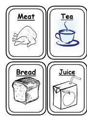 Food Flashcards Black and White 20 Flashcards