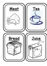 English Worksheet: Food Flashcards Black and White 20 Flashcards