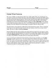 English Worksheets: Global Wind Patterns