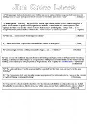 English Worksheet: jim crow laws / civil rights