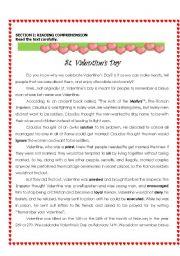 English Worksheet: St Valentine´s Day (Reading & Writing)