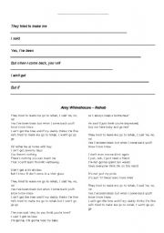 English Worksheet: Make your own story (Rehab, Amy Winehouse)