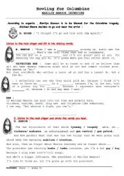 English Worksheet: bowling for columbine / interview with Marilyn Manson