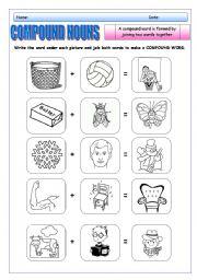 English Worksheets: COMPOUNDS NOUNS 1