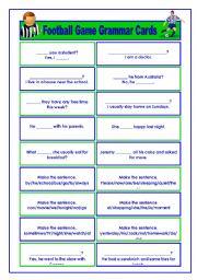 English Worksheet: Football/Soccer Game Grammar Cards (2/6)
