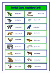 English Worksheet: Football/Soccer Game Animal and Food Vocabulary Cards (3/6)