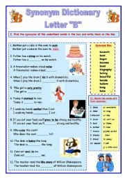 English Worksheet: Synonym Dictionary, Letter B