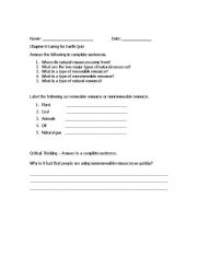 English Worksheet: Natural Resources Quiz / Review Worksheet