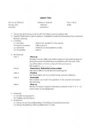 English Worksheets: Example lessonplan