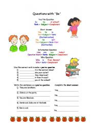 English Worksheets: Questions with Be