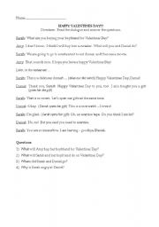 English Worksheet: Valentines Day dialogue