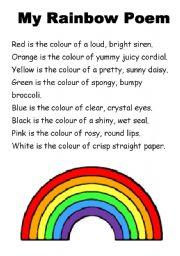 English worksheet: My Rainbow Poem