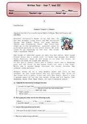 English Worksheet: written test (4 pages) about types of houses/ school