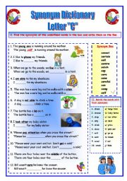 English Worksheet: Synonym Dictionary, Letter C