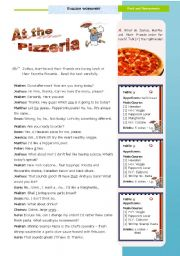 English Worksheet: At the Pizzeria  - a 90-minute lesson of my Task  on Food and Restaurants