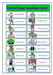 English Worksheet: Football/Soccer Game (4/6)  Job Vocabulary Cards (2 pages)