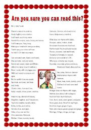 English Worksheets: The Most Challenging Poem Ever!