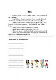 English Worksheets: Me