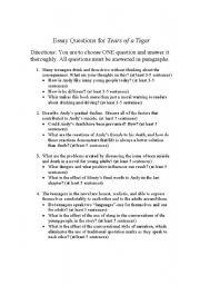 English Worksheets Tears Of A Tiger Essay Questions English Worksheet Tears Of A Tiger Essay Questions Help To Do My Assignment also Example Of An Essay Proposal  Essay Tips For High School