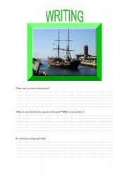 English Worksheets: SAILING - writing activity