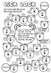 English Worksheet: Tick-Tock (board game)