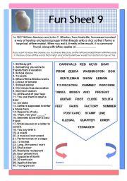 English Worksheets: Fun Sheet 9