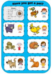 English Worksheets: Have you got a pet?: cards to laminate and cut