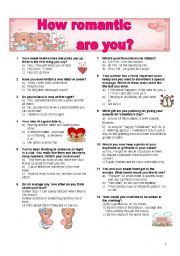 English Worksheet: PERSONALITY QUIZZ: HOW ROMANTIC ARE YOU?