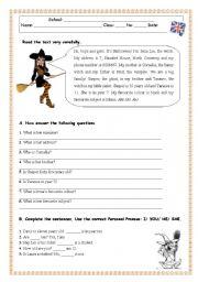 English Worksheets: Reading Comprehension Test/Worksheet -Family
