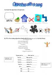 English Worksheet: OPPOSITES (song Hot�n�cold by Katy Perry)