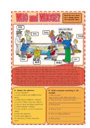 English Worksheet: Who and Whose