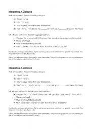 English Worksheets: Interpreting a Dilaogue