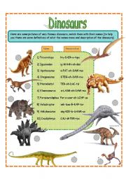 dinosaurs fact worksheet SET 1 (3 pages)