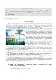 English Worksheet: Tourism and the Environment