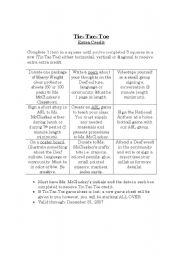English Worksheets: Tic Tac Toe (for extra credit)