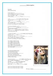 English Worksheets: Beautiful- Christina Aguilera Fill in the Gaps