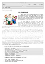 English Worksheets: The Americans
