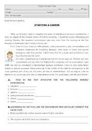 English Worksheet: Starting a career