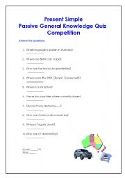English worksheets: PRESENT SIMPLE PASSIVE GENERAL KNOWLEDGE QUIZ