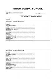 english worksheets personal information. Black Bedroom Furniture Sets. Home Design Ideas