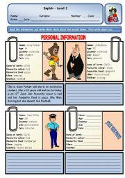 English Worksheet: PERSONAL IDENTIFICATION
